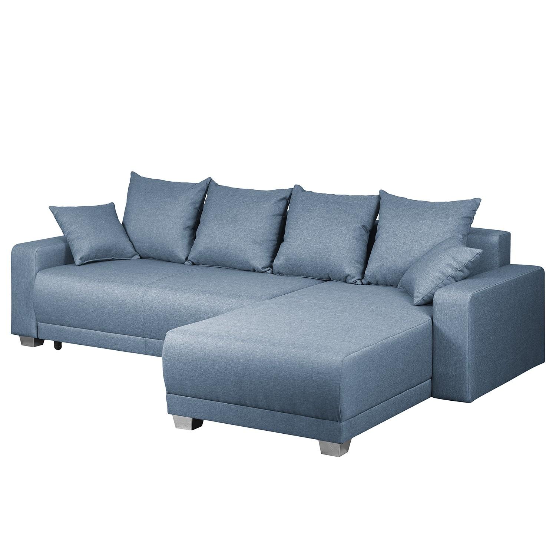 home24 Fredriks Ecksofa Alstrup Jeansblau Webstoff 255x83x182 cm mit Schlaffunktion und Bettkasten