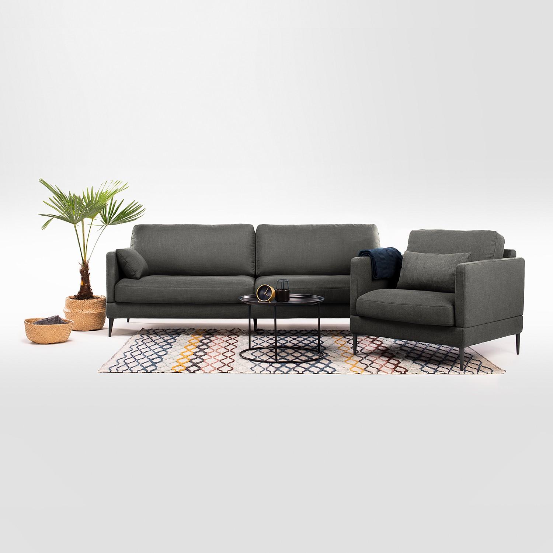 home24 Mørteens Sessel Schore Dunkelgrau Webstoff 86x85x87 cm (BxHxT)
