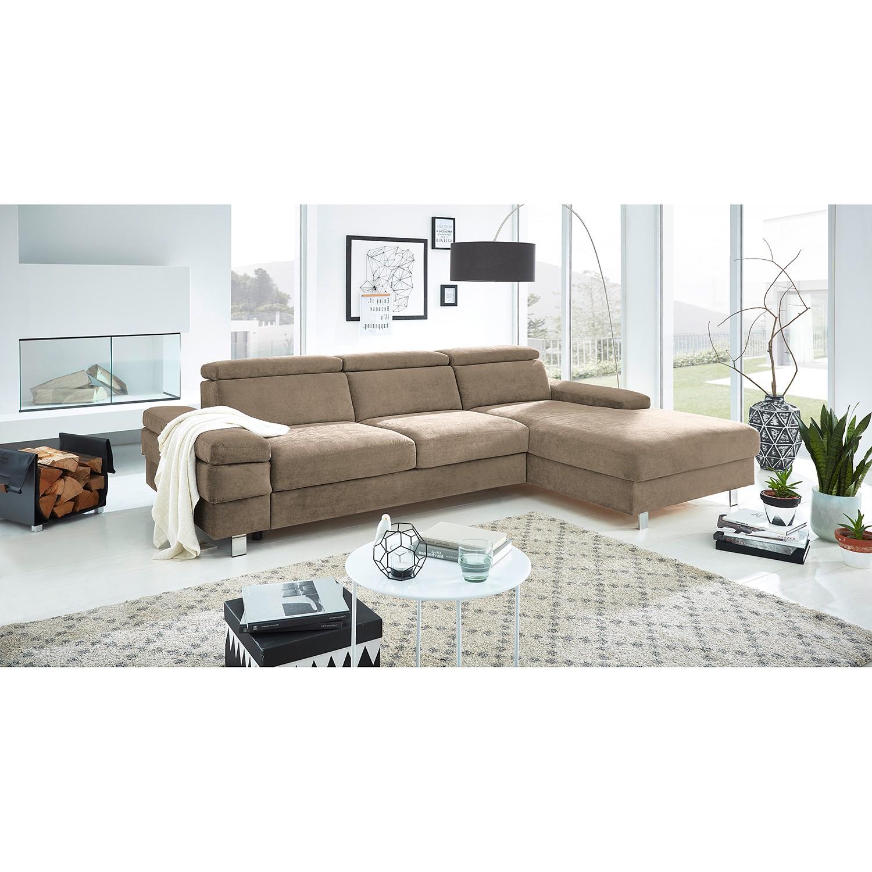 home24 Fredriks Ecksofa Mundau I Latte Macchiato Webstoff 268x82x182 cm mit Schlaffunktion und Bettkasten