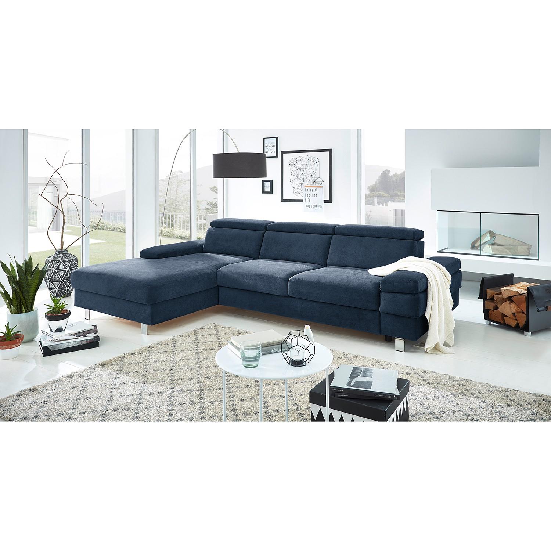 home24 Fredriks Ecksofa Mundau I Marineblau Webstoff 268x82x182 cm mit Schlaffunktion und Bettkasten