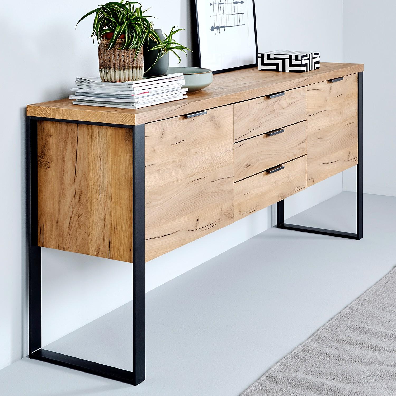 home24 Jahnke Sideboard Loop Eiche Dekor/Antrazit Spanplatte/Stahl 180x76x40 cm (BxHxT) 2-türig 3 Schubladen