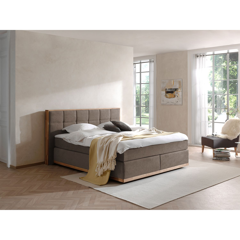 home24 Naturoo Boxspringbett Levana 200x200 cm Webstoff/Eiche Dunkelgrau mit Matratze   Schlafzimmer > Betten > Boxspringbetten