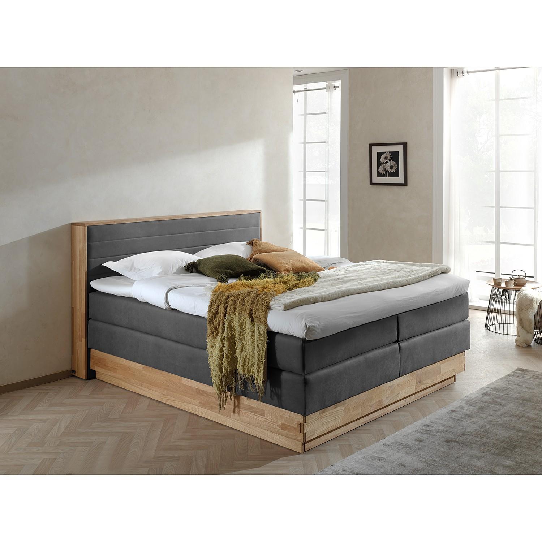 home24 Naturoo Boxspringbett Moneta 180x200 cm Webstoff/Massivholz Eiche Grau mit Bettkästen/Matratze