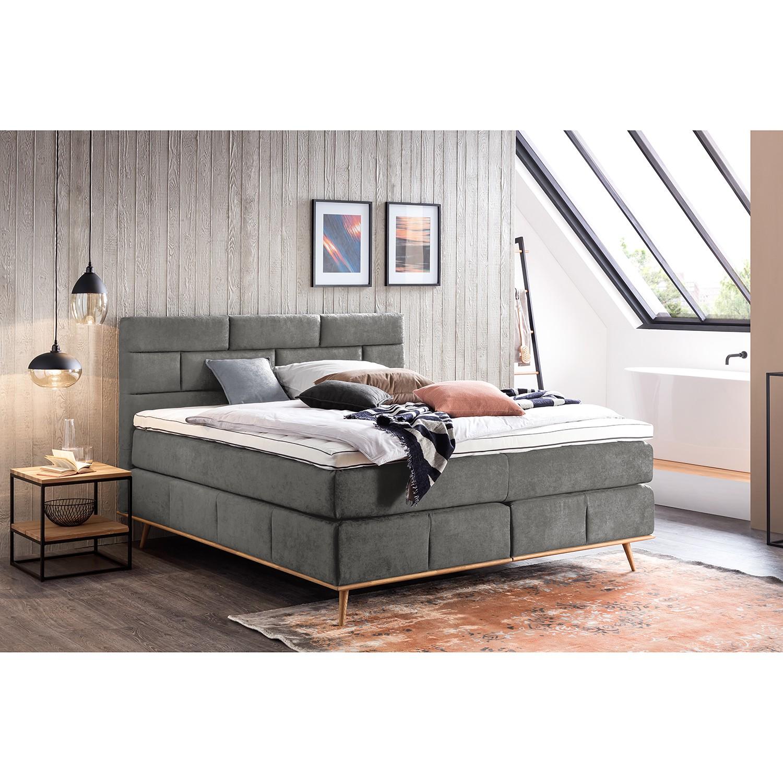 home24 loftscape Boxspringbett Lasse 180x200 cm Webstoff Anthrazit mit Matratze
