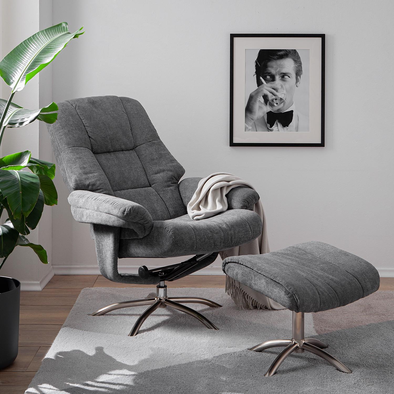 home24 Fredriks Relaxsessel La Para I Grau Microfaser mit Hocker/Relaxfunktion 78x114x86 cm (BxHxT)