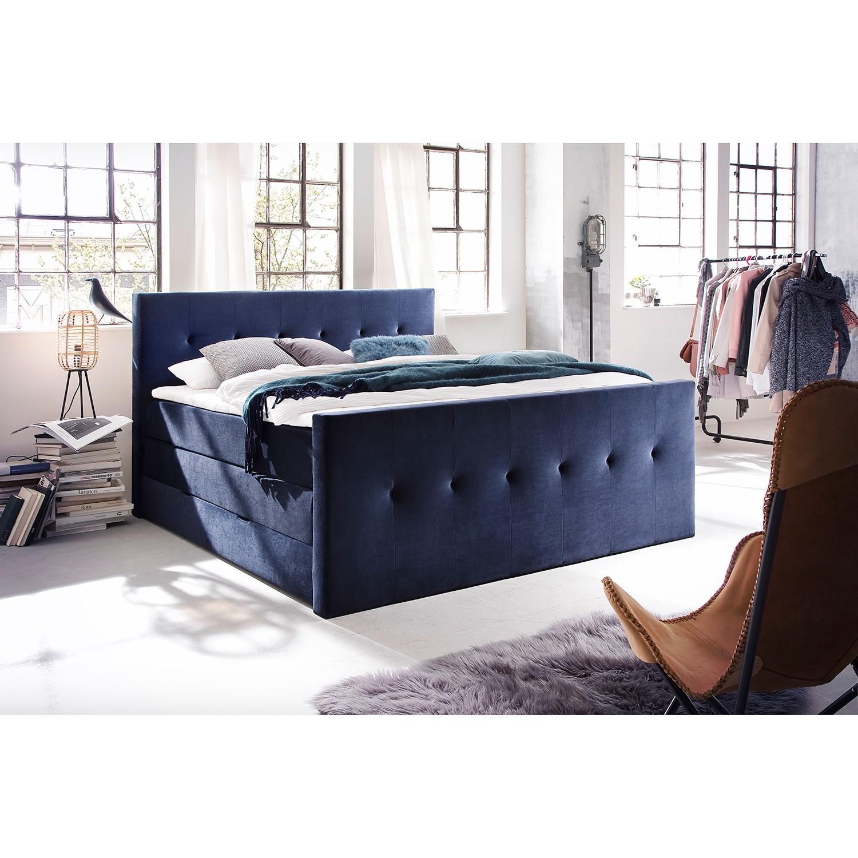 home24 meise.möbel Boxspringbett Star 180x200 cm Webstoff Dunkelblau mit Bettkästen/Matratze