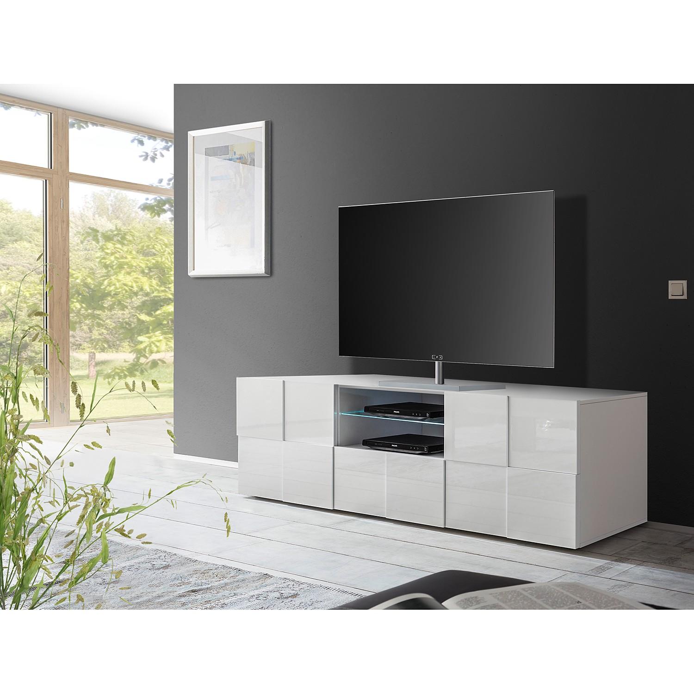 home24 LC Spa TV-Lowboard Dama II Hochglanz Weiß Spanplatte 181x57x42 cm (BxHxT) Modern 2-türig 1 Schublade