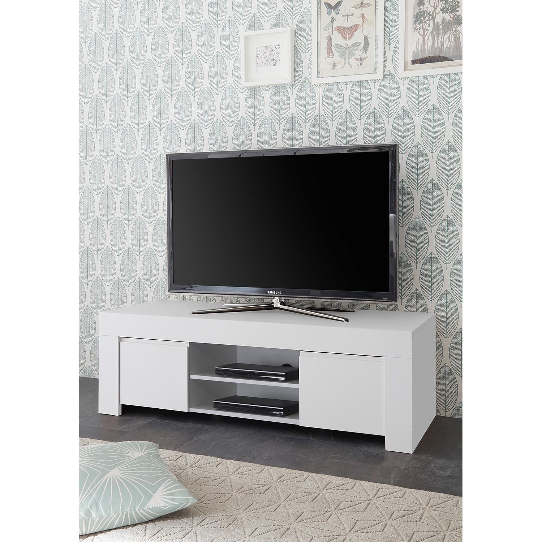 home24 LC Spa TV-Lowboard Firenze Matt Weiß Spanplatte 138x44x42 cm (BxHxT) Modern 2-türig