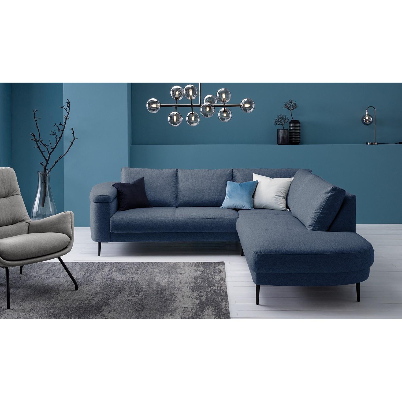home24 Studio Copenhagen Ecksofa Mogo I Blau Webstoff 244x71x243 cm