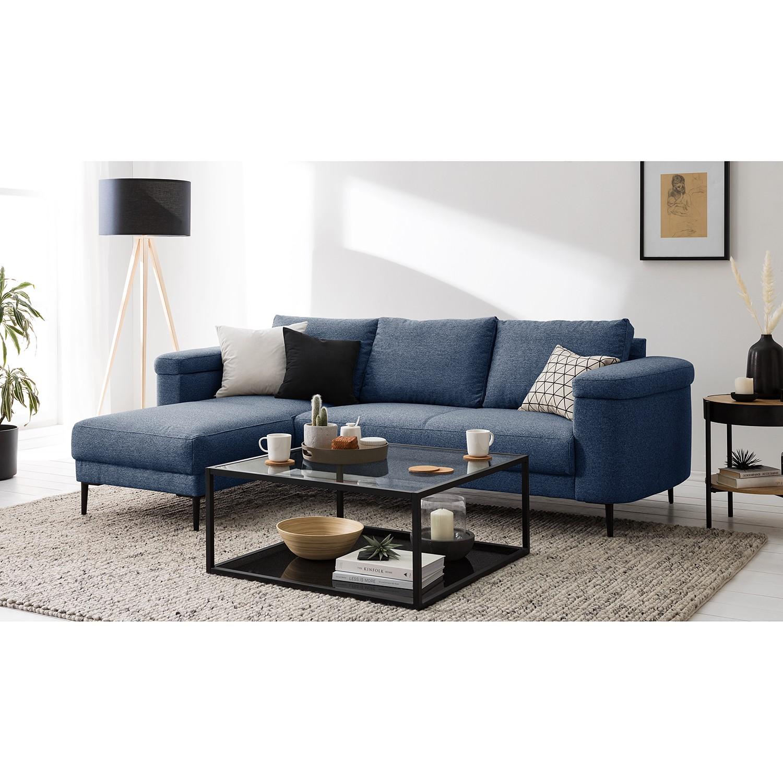 home24 Studio Copenhagen Ecksofa Mogo Blau Webstoff 241x71x159 cm