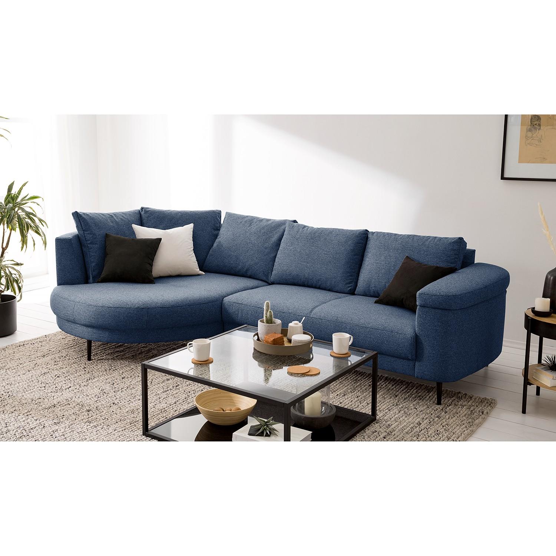 home24 Studio Copenhagen Ecksofa Mogo II Blau Webstoff 272x71x150 cm