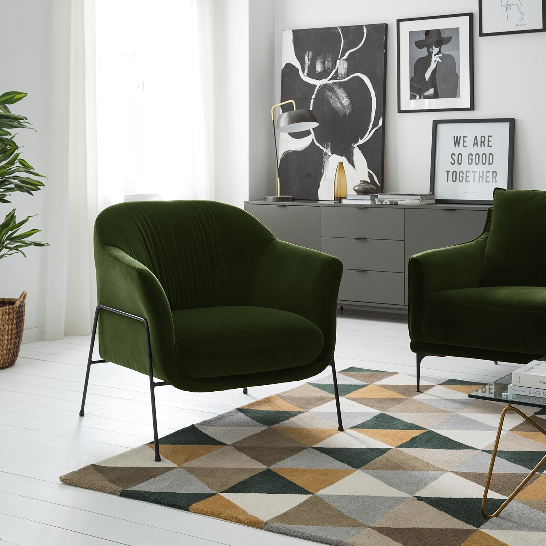 home24 Studio Copenhagen Sessel Lubz Dunkelgrün Samt 85x86x84 cm (BxHxT)