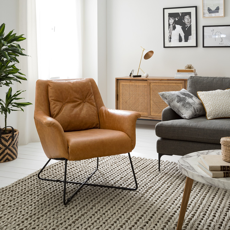 home24 Studio Copenhagen Sessel Pimentas Braun Echtleder 82x87x84 cm (BxHxT)