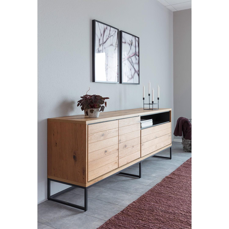 home24 Red Living Sideboard Frahan Wildeiche/Schwarz MDF/Stahl 198x76x45 cm (BxHxT) Industrial 2-türig 2 Schubladen