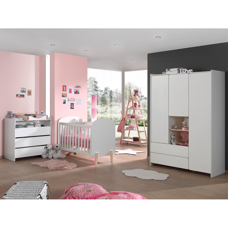 home24 Vipack Kleiderschrank Kiddy Weiß 133x190x55 cm (BxHxT) 3-türig MDF