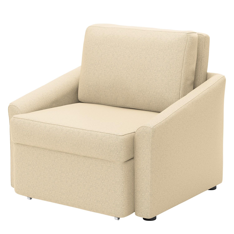 home24 Modoform Sessel Rifton I Creme Webstoff mit Schlaffunktion 108x86x96 cm (BxHxT)