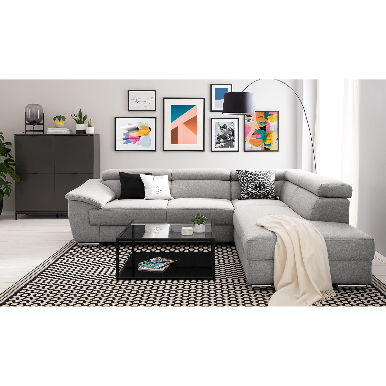 home24 Fredriks Ecksofa Swain Hellgrau Webstoff 271x78x166 cm mit Schlaffunktion und Bettkasten