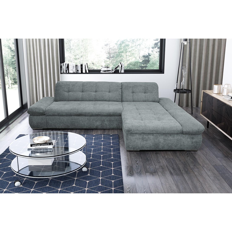 home24 loftscape Ecksofa Lemley Blaugrau Webstoff 300x80x172 cm