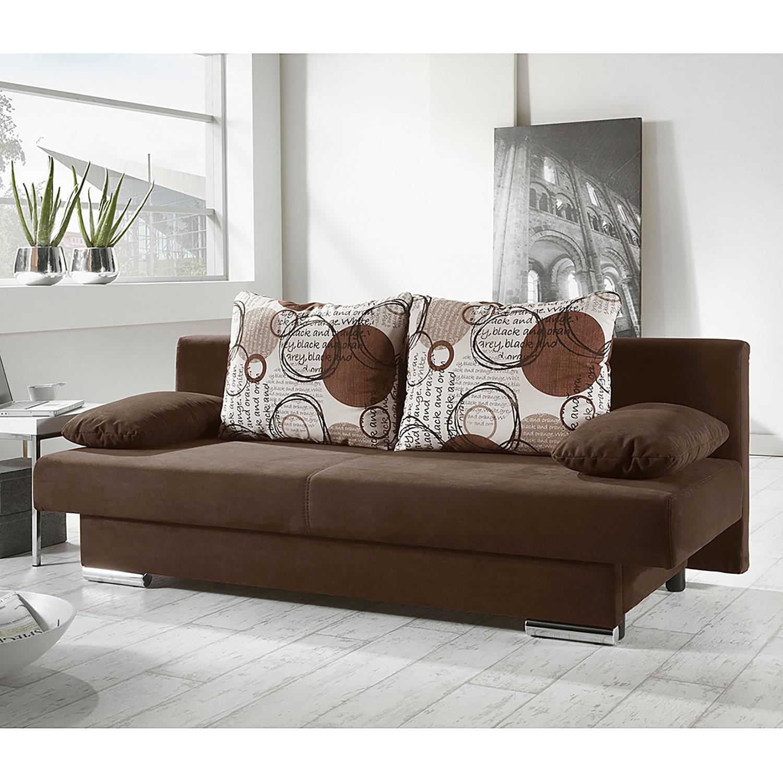 home24 Fredriks Schlafsofa Rijeka 2-Sitzer Braun Microfaser 190x72x88 cm mit Schlaffunktion und Bettkasten
