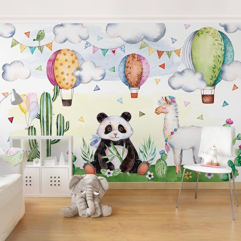 Vliestapete Panda und Lama Aquarell, Bilderwelten