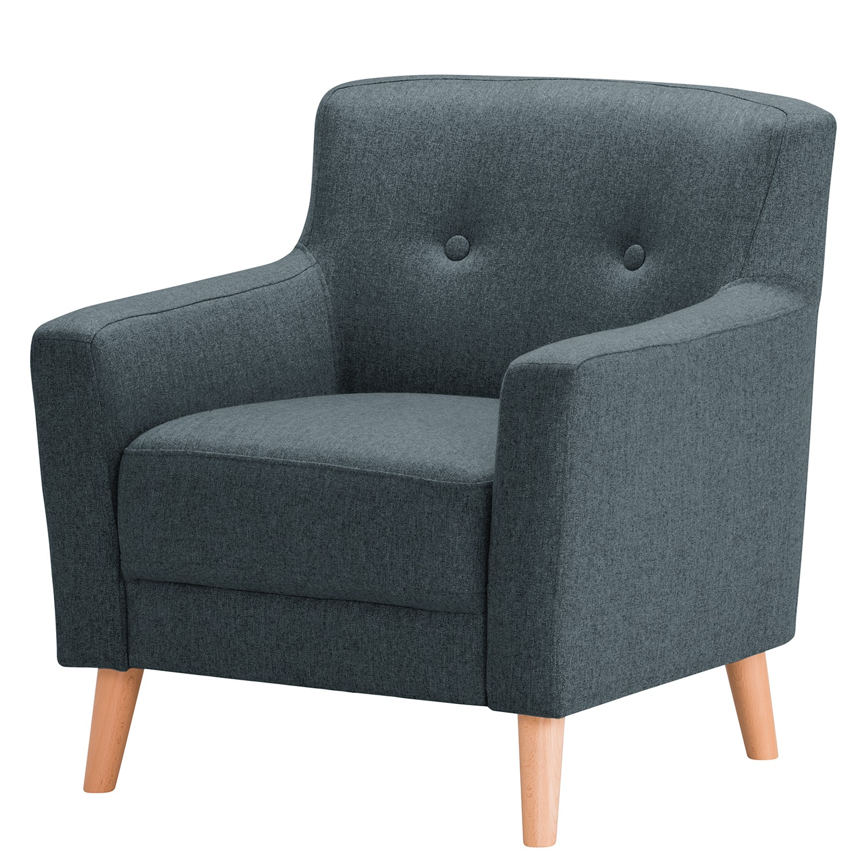 home24 Norrwood Sessel Bette I Blau Webstoff 80x82x80 cm (BxHxT)