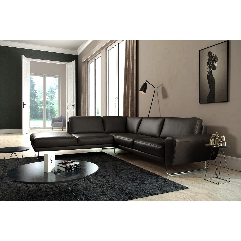 home24 loftscape Ecksofa Kerman Schwarz Echtleder 275x83x250 cm