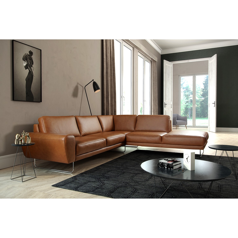 home24 loftscape Ecksofa Kerman Cognac Echtleder 275x83x250 cm