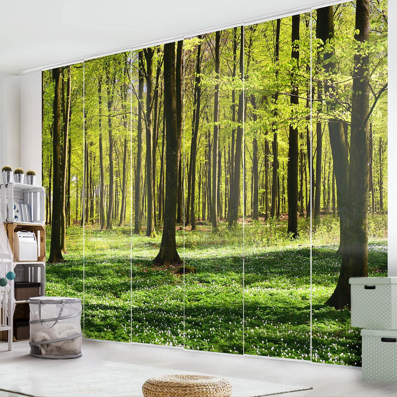 home24 Schiebegardinen Waldwiese (6er-Set) | Heimtextilien > Gardinen und Vorhänge > Schiebegardinen und Schiebevorhänge | Bilderwelten