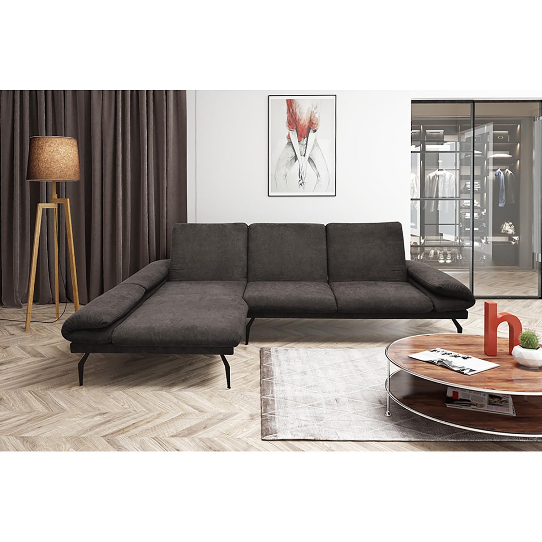home24 loftscape Ecksofa Morell I Espresso Microfaser 307x93x178 cm