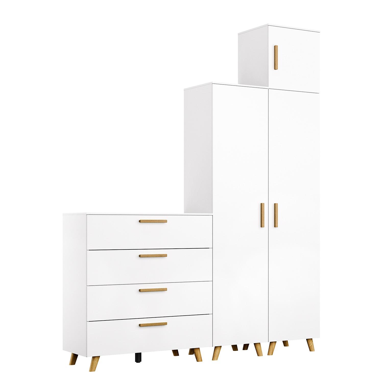 Schlafzimmermöbel - Schrankkombination Shuffle I Skandi - Rauch - Weiss