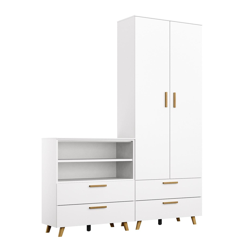 Schlafzimmermöbel - Schrankkombination Shuffle IV Skandi - Rauch - Weiss