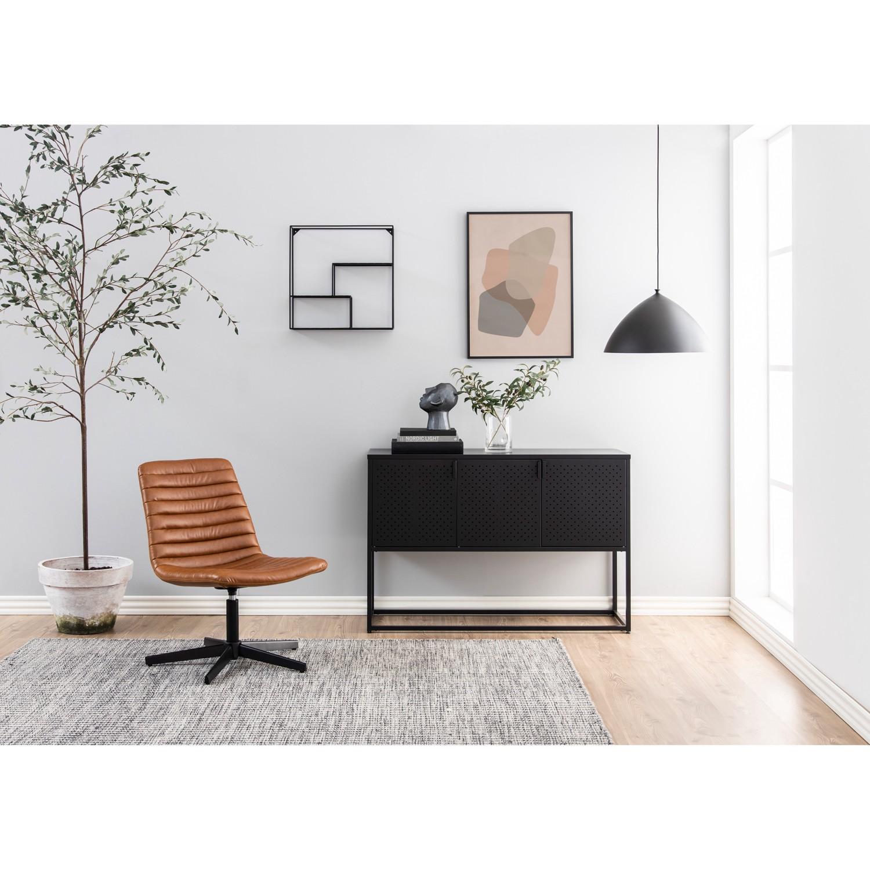 home24 Norrwood Sideboard Cascavel Schwarz Stahl 120x80x40 cm (BxHxT) Industrial 3-türig