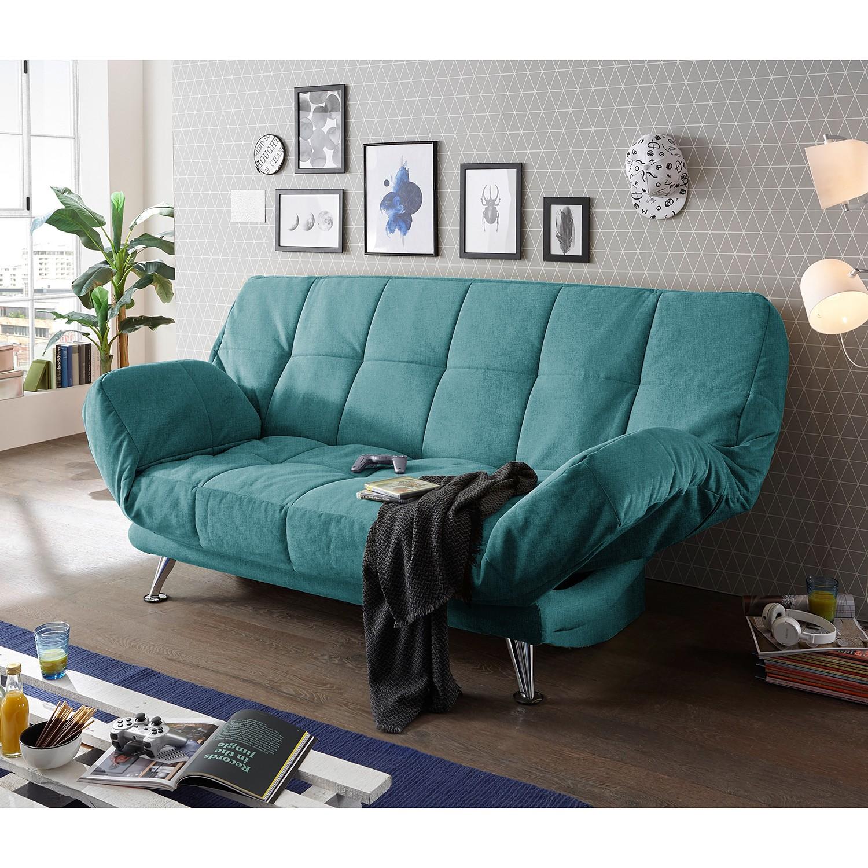 home24 Fredriks Schlafsofa Bolans Türkis Microfaser 208x102x98 cm mit Schlaffunktion und Bettkasten