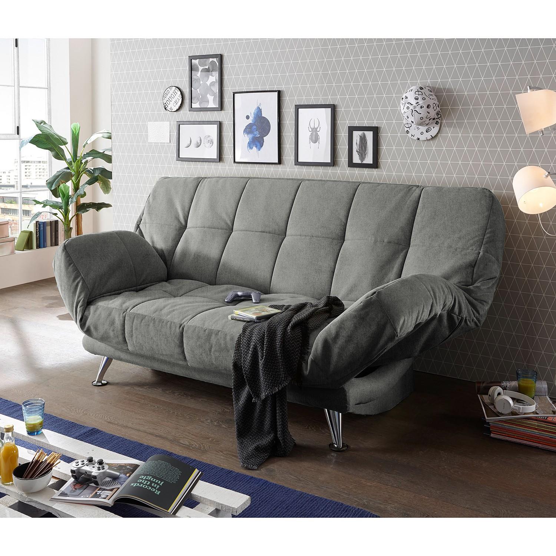 home24 Fredriks Schlafsofa Bolans Grau Microfaser 208x102x98 cm mit Schlaffunktion und Bettkasten