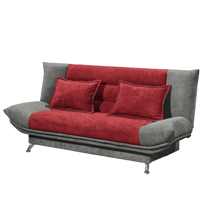 home24 Fredriks Schlafsofa Burrel Grau/Rot Microfaser 193x90x88 cm mit Schlaffunktion und Bettkasten