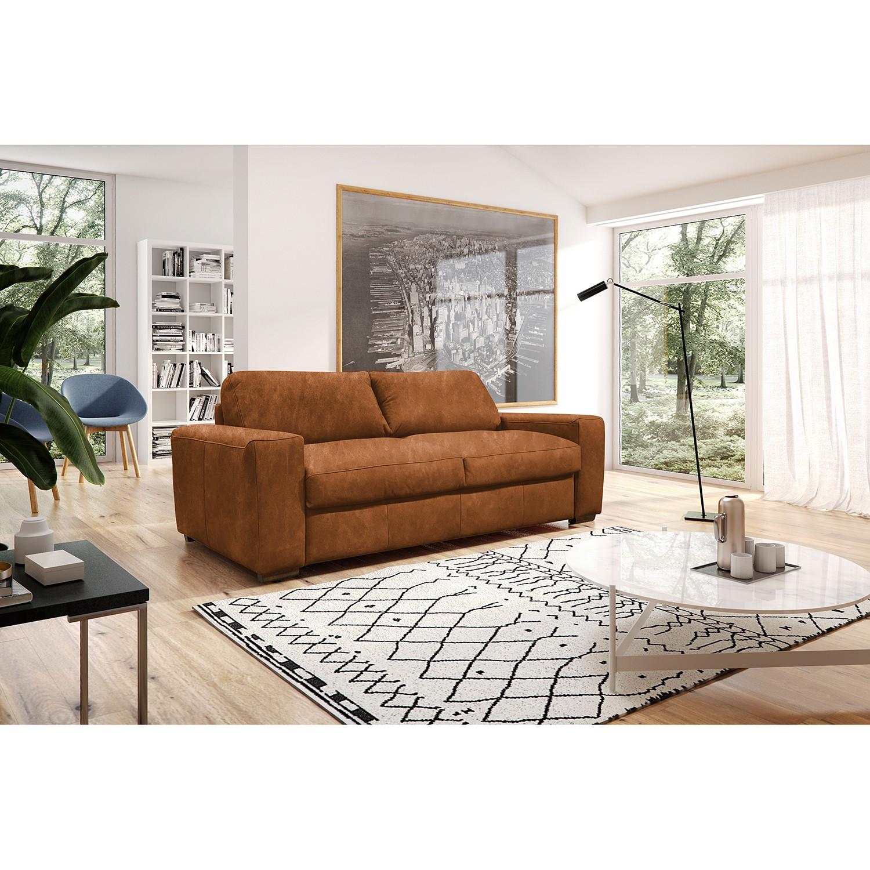 home24 Ridgevalley Schlafsofa Matheu Cognac Echtleder 210x88x104 cm mit Schlaffunktion