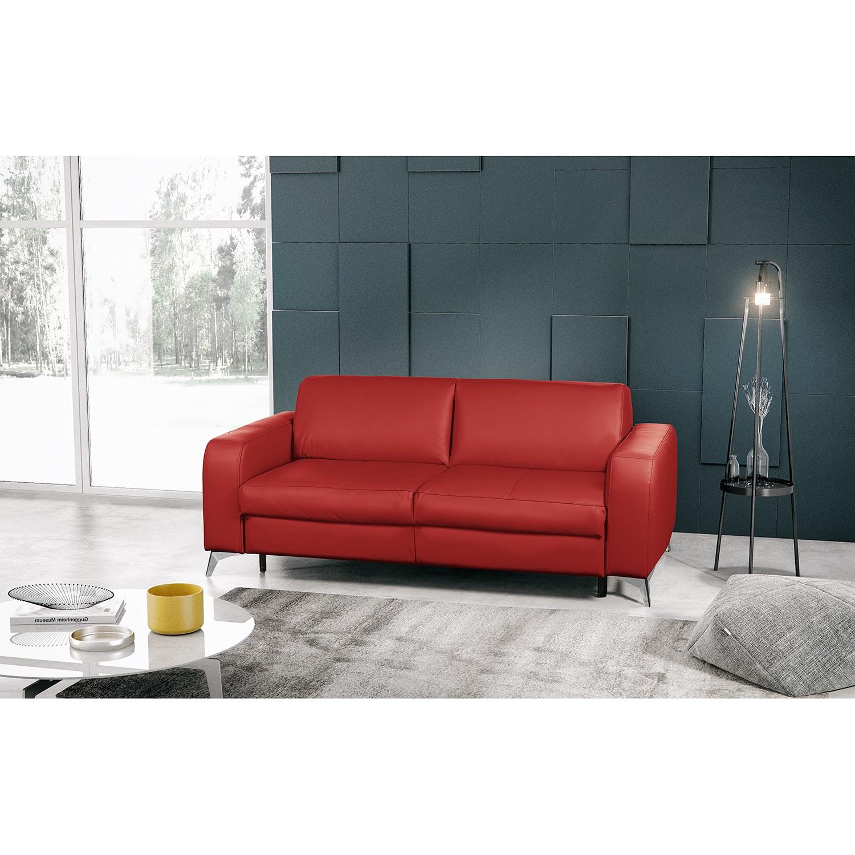 home24 loftscape Schlafsofa Formosa Rot Echtleder 207x85x102 cm mit Schlaffunktion
