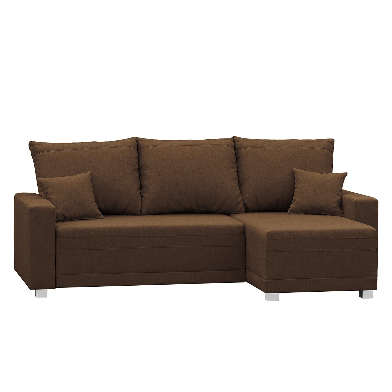 home24 Fredriks Ecksofa Lagedo Braun Strukturstoff 227x96x143 cm mit Schlaffunktion und Bettkasten