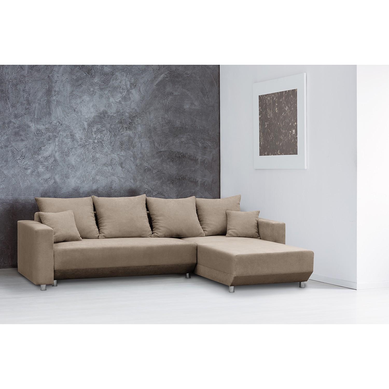 home24 Fredriks Ecksofa Logarto Kaschmir Microfaser 259x90x181 cm mit Schlaffunktion und Bettkasten