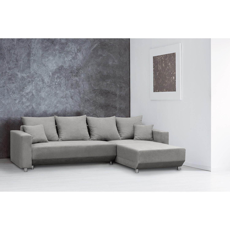 home24 Fredriks Ecksofa Logarto Hellgrau Microfaser 259x90x181 cm mit Schlaffunktion und Bettkasten