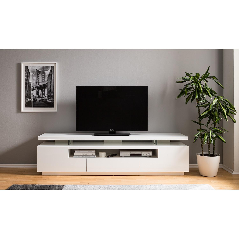 home24 loftscape TV-Lowboard Lisby Hochglanz Weiß MDF 200x51x42 cm (BxHxT) Modern mit Beleuchtung/TV-Aufsatz