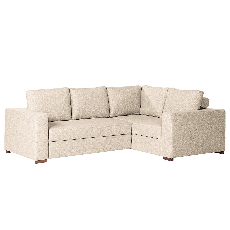 home24 loftscape Ecksofa Woodway II Creme Webstoff 248x88x183 cm mit Schlaffunktion und Bettkasten