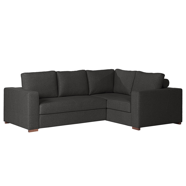 home24 loftscape Ecksofa Woodway II Schwarz Webstoff 248x88x183 cm mit Schlaffunktion und Bettkasten