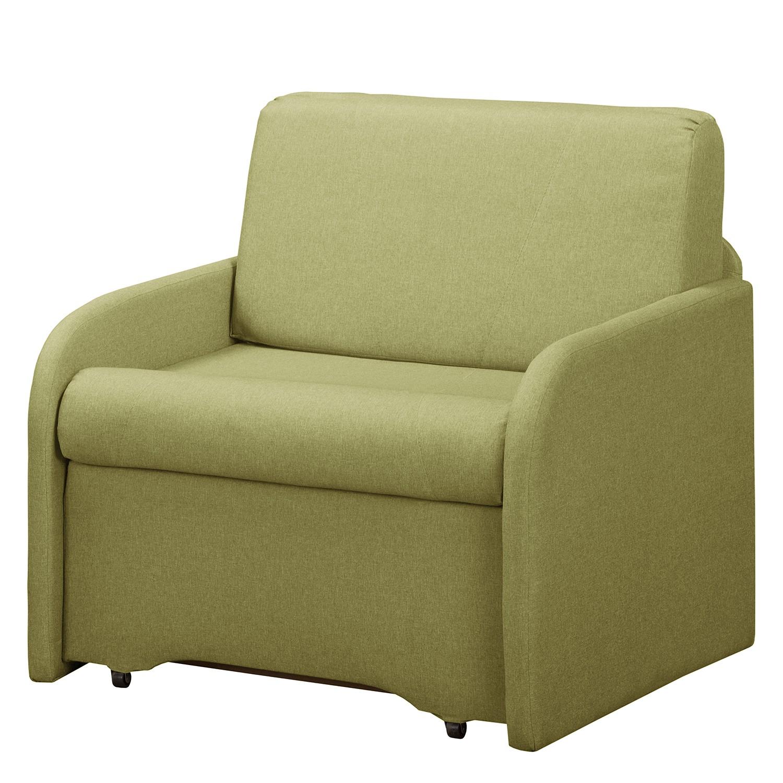 home24 Fredriks Schlafsessel Disley II Pistaziengrün 100% Polyester mit Schlaffunktion/Bettkasten 90x84x84 cm (BxHxT) | Schlafzimmer > Schlafsofas > Schlafsessel