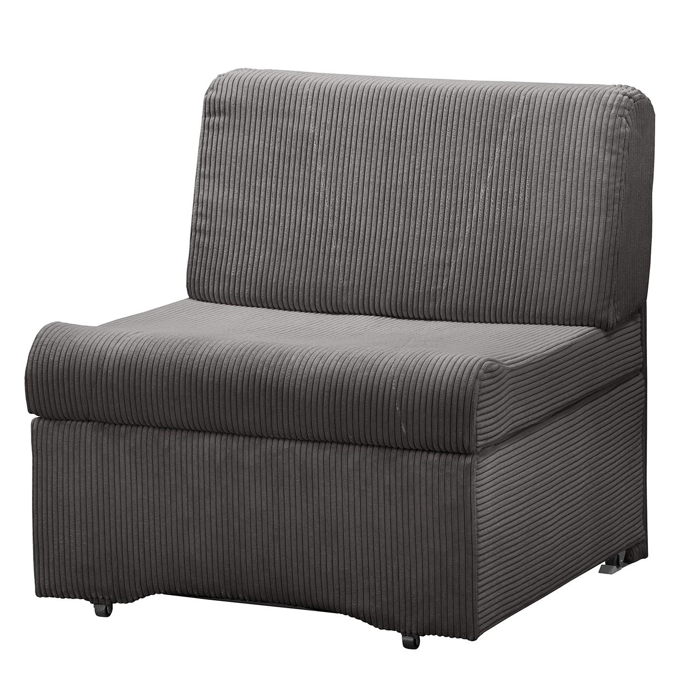 home24 Fredriks Schlafsessel Disley IV Dunkelgrau 100% Polyester mit Schlaffunktion/Bettkasten 86x84x84 cm (BxHxT)