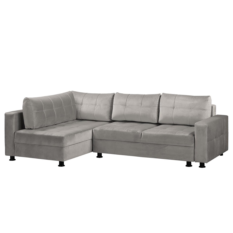 home24 Fredriks Ecksofa Upwell II Grau 100% Polyester 266x72x167 cm (BxHxT) mit Schlaffunktion/Bettkasten Modern