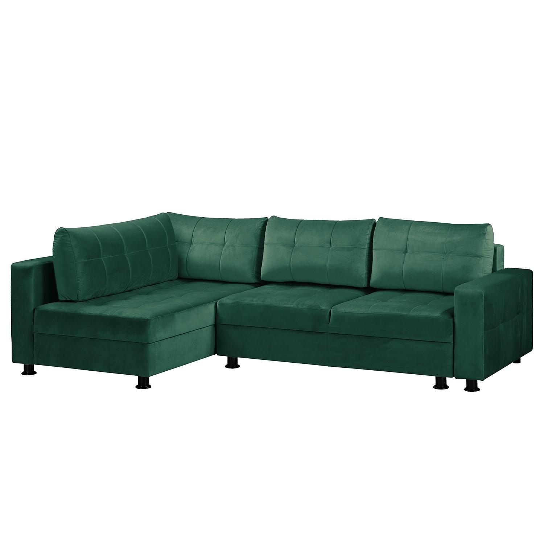 home24 Fredriks Ecksofa Upwell II Dunkelgrün 100% Polyester 266x72x167 cm (BxHxT) mit Schlaffunktion/Bettkasten Modern