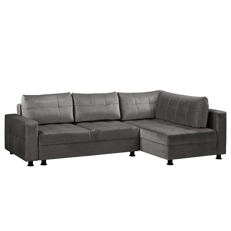 home24 Fredriks Ecksofa Upwell II Dunkelgrau 100% Polyester 266x72x167 cm (BxHxT) mit Schlaffunktion/Bettkasten Modern