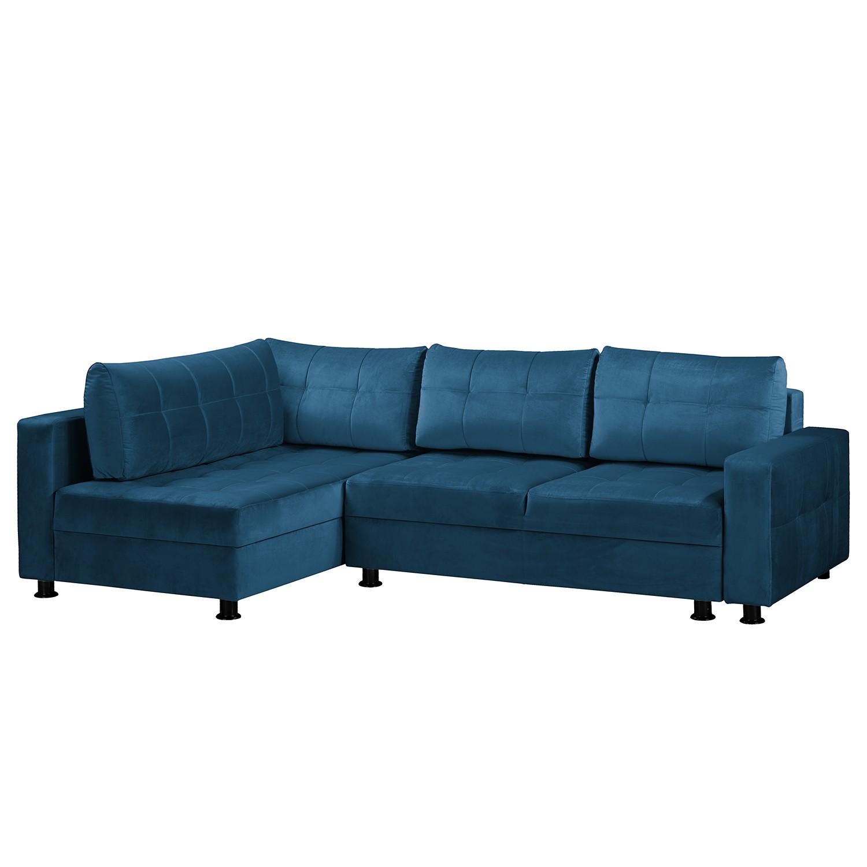 home24 Fredriks Ecksofa Upwell II Marineblau 100% Polyester 266x72x167 cm (BxHxT) mit Schlaffunktion/Bettkasten Modern