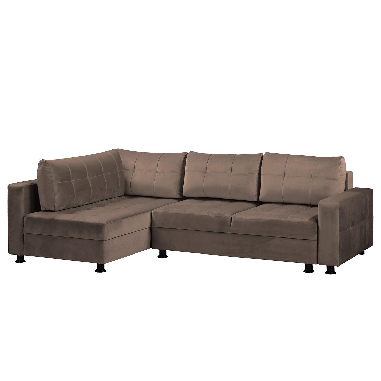 home24 Fredriks Ecksofa Upwell II Braun 100% Polyester 266x72x167 cm (BxHxT) mit Schlaffunktion/Bettkasten Modern